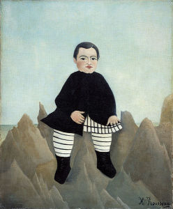 "An early, less accomplished work by Henri Rousseau. 1895-7. ""The Boy on the Rocks."" Source: Wikimedia Commons"