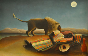 "Another magical work by Rousseau. 1905. ""The Sleeping Gypsy"". Source: Wikimedia Commons"