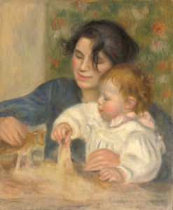 Click to Enlarge. Renoir:  Gabrielle Renard and infant son, Jean; 1895. Source: Wikimedia Commons