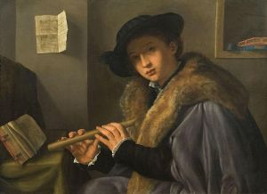 Another by Savoldo - and less fantastical: Gentleman with Flute. Source: Wikimedia Commons. Click to Enlarge.